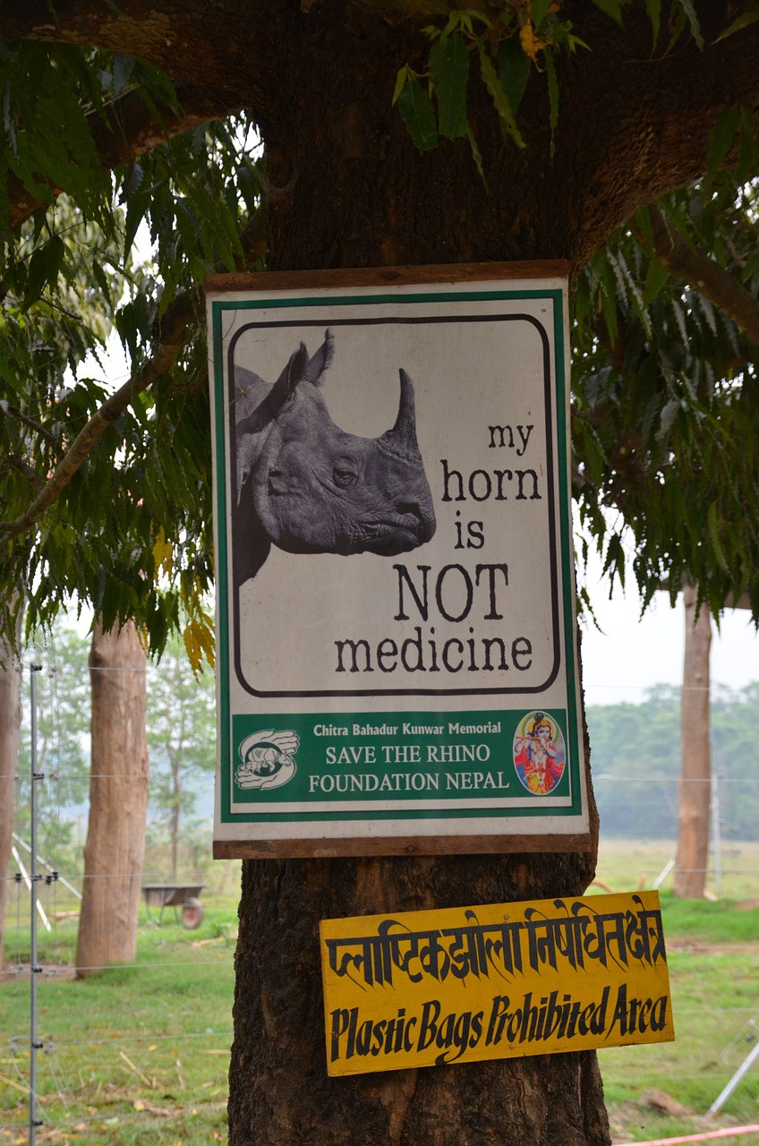 Rhino conservation sign