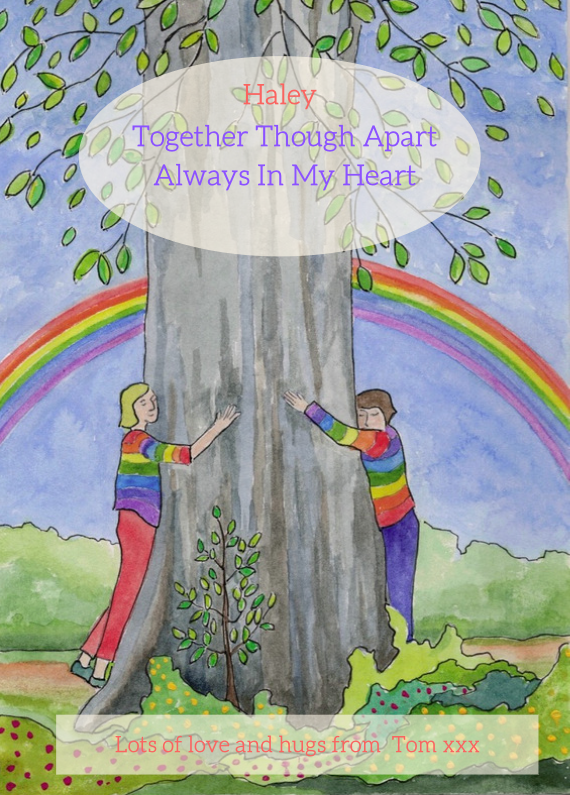 tree planting ecard of people hugging a tree with a rainbow of hope