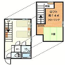 ロフト付洋室。家族やグループに人気。ツイン洋室の1階部分と、階段あがって2階部分は板張りと畳の部分あり。窓からアルプスが一望できる眺めの良い日もあり人気。