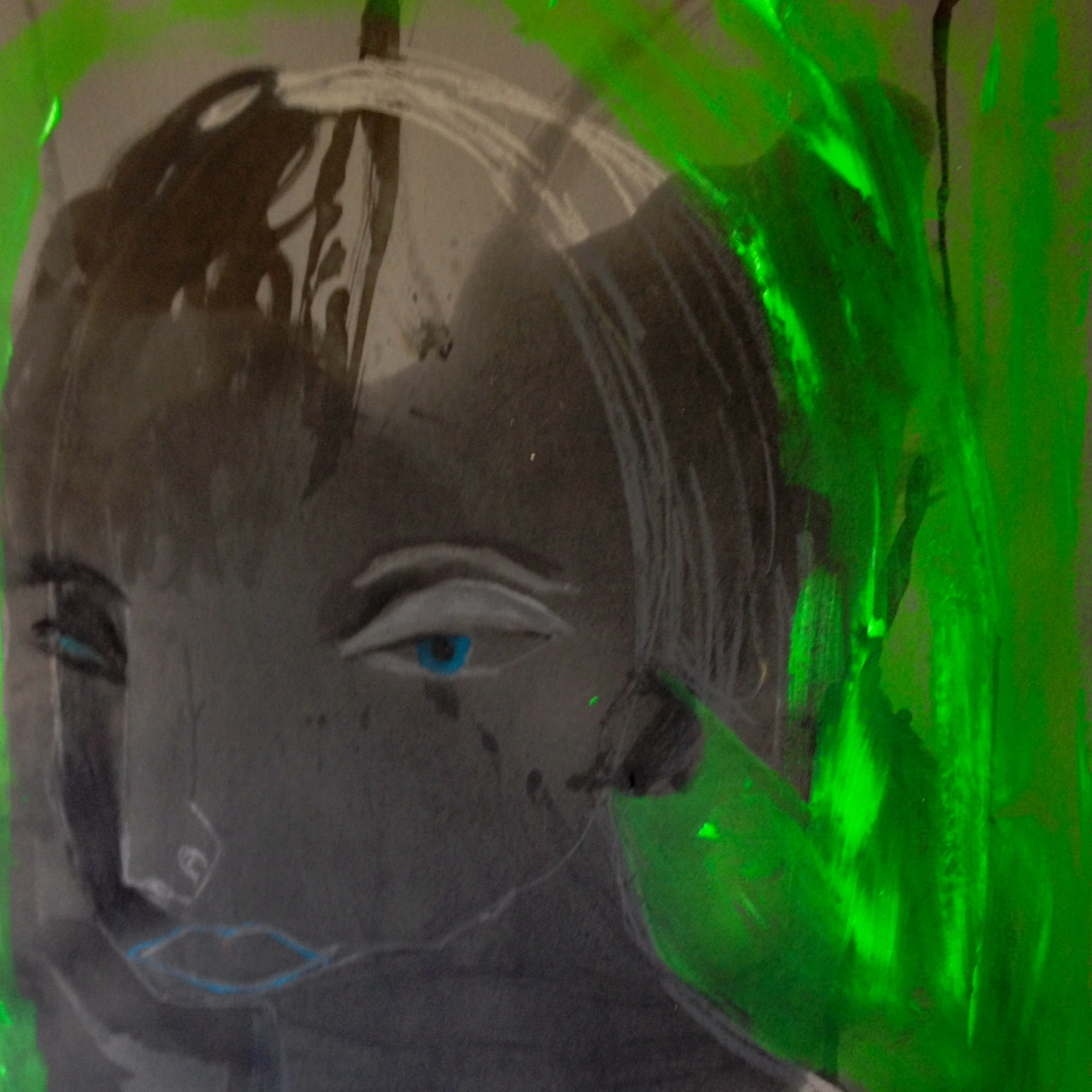 Woman with green background. 75x 56 cm.j