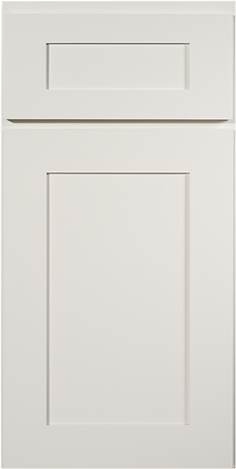 Shaker White (also available with slab drawer front)