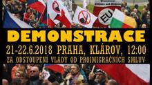 """Demonstrace """"Vládo, odstup od smluv Globálního paktu!"""". Praha 21. 6. 2018"""