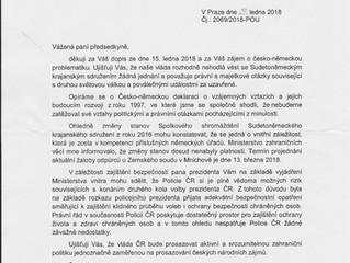 Odpověď premiéra ČR na dopis, který mu byl adresován ohledně česko - německých vztahů.