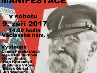 Pozvánka na předvolební manifestaci dne 9. 9. 2017 ve 14:00 v Praze na Václavském náměstí u koně