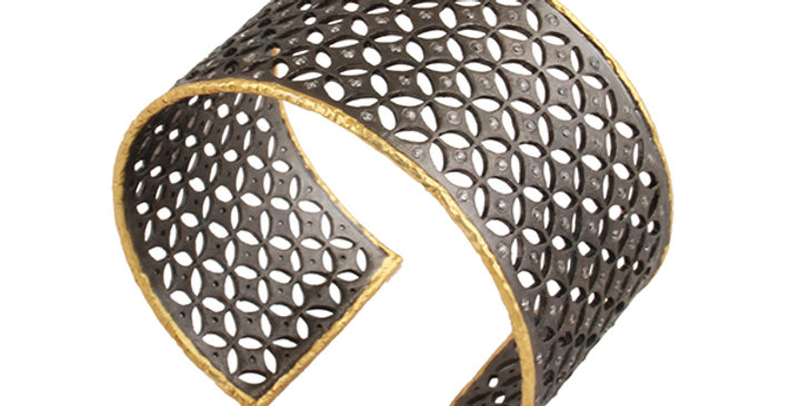 Sterling Silver Rodium Filigree Cuff Bracelet with Gold Plating