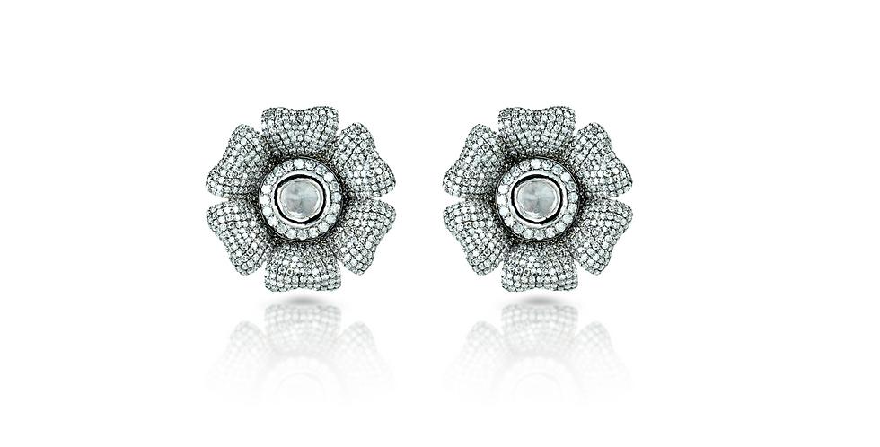 Art Deco Diamond Flower Stud Earrings in 18K Gold & Sterling Silver