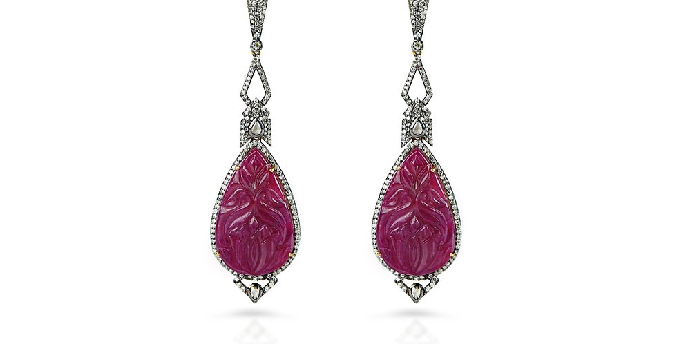 Art Deco Carved Ruby and Diamond Drop Earrings