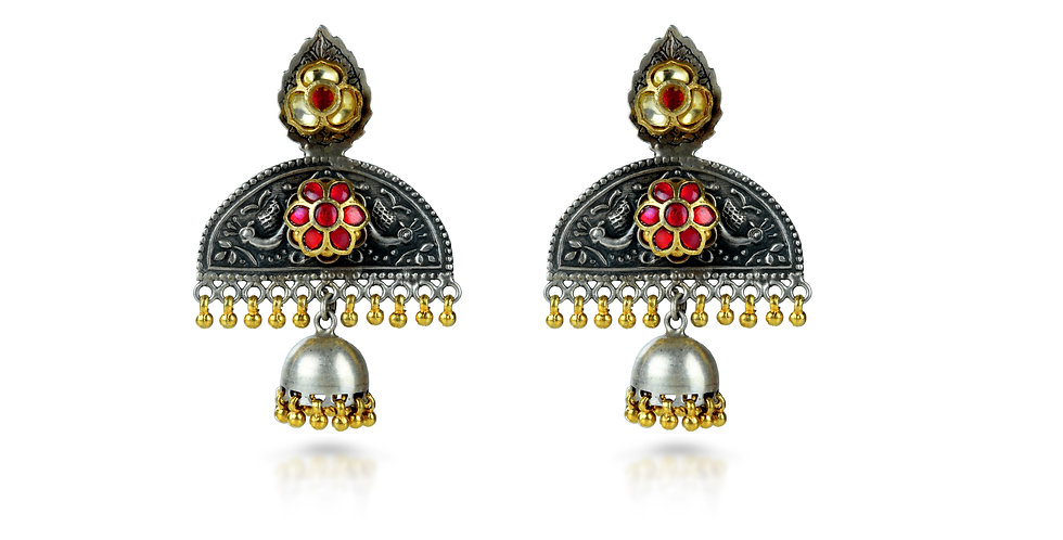 Sterling Silver Chatri Earrings with Gemstones & Gold Plating