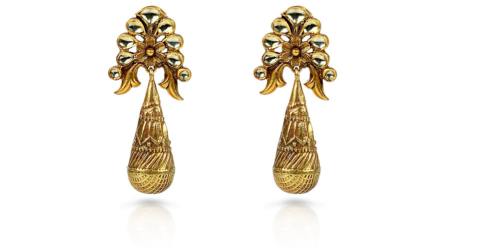 Sterling Silver Peacock Drop Earrings with Gold Plating