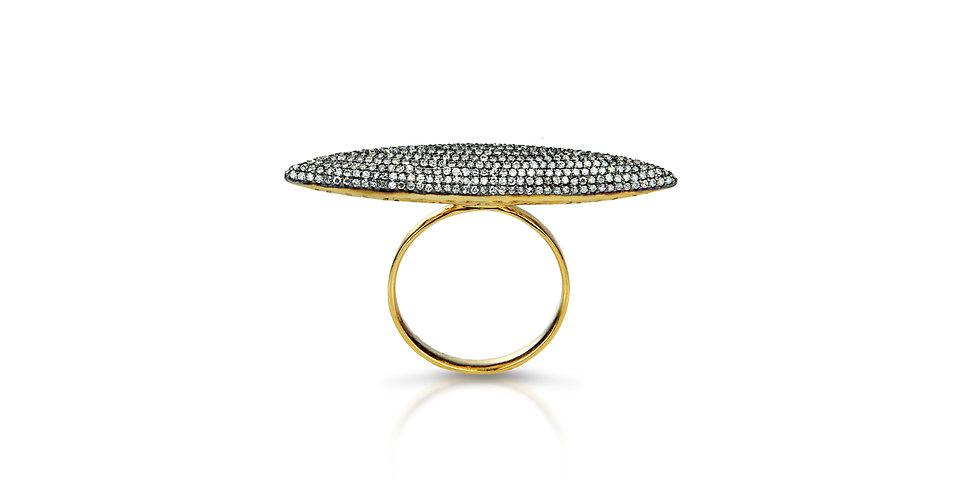 Art Deco Diamond Galaxias Ring in 18K Gold & Sterling Silver