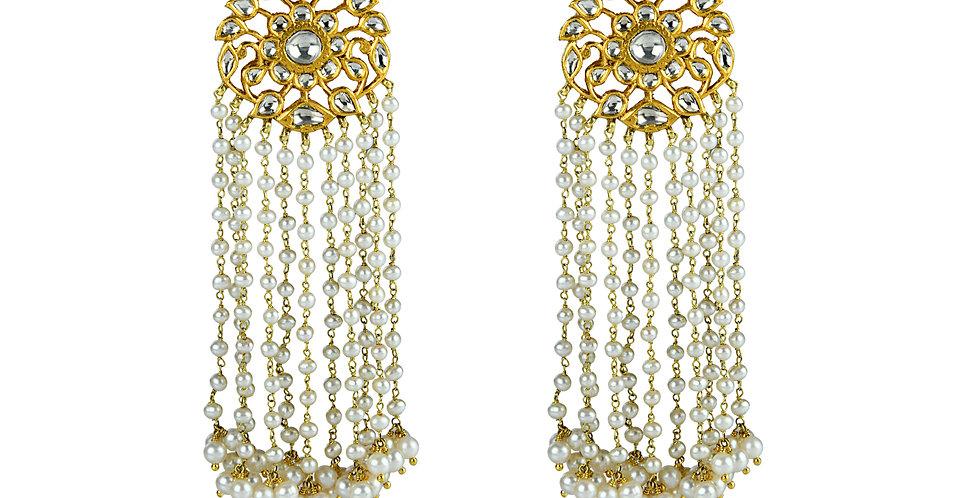 Diamond Polki Pearl Chandelier Earrings