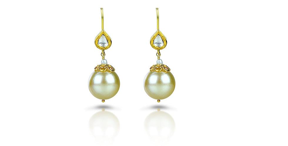 South Sea Pearls & Diamond (Polki) Earrings in 18K Gold & Sterling Silver