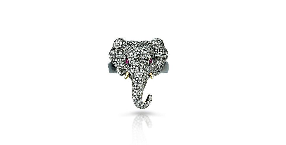 Art Deco Diamond & Ruby Ring in 18K Gold & Sterling Silver