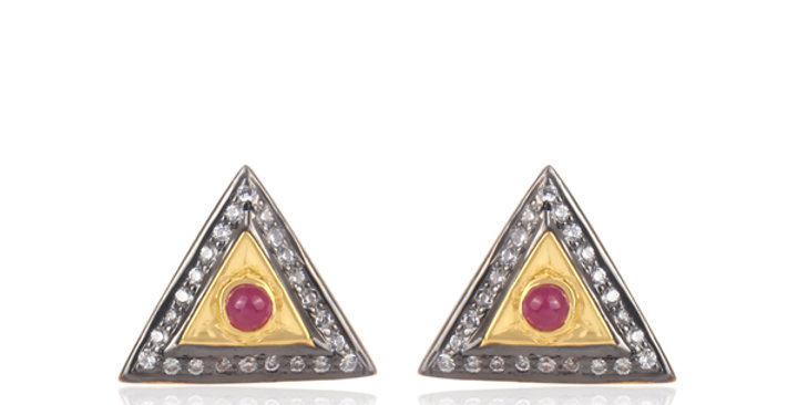 Stering Silver Studs with Gold Plating, Cubic Zirconia, & Rubies