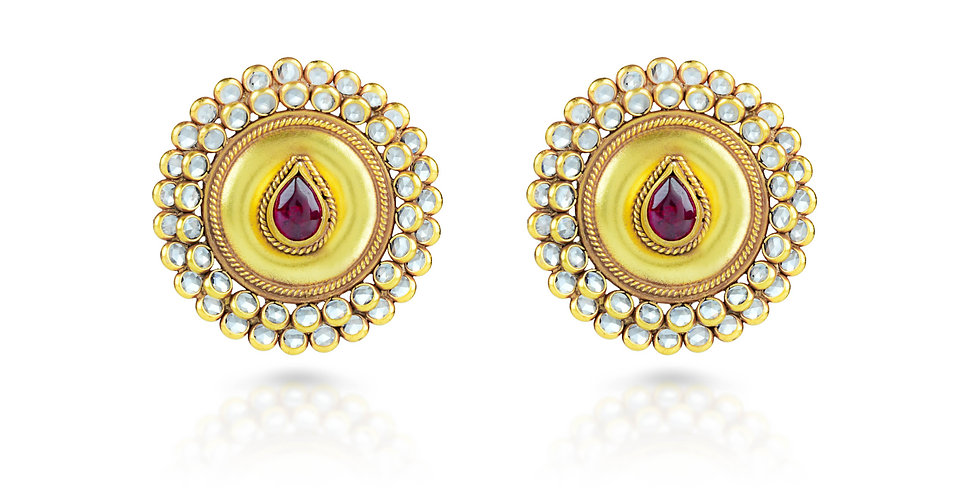 Sterling Silver Stud Earrings with Gold Plating