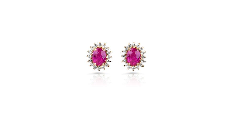 Ruby and Diamond Stud Earrings in 18K Gold
