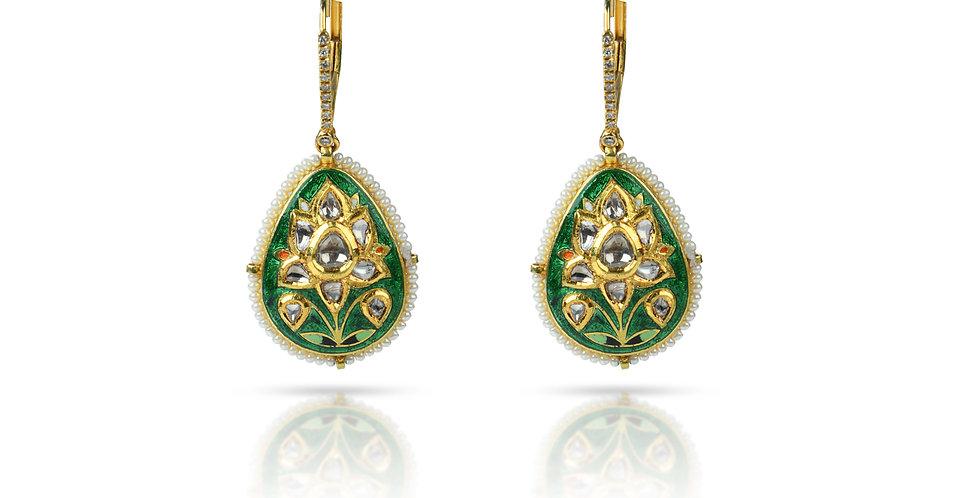 Diamonds (Polki), Pearls, & Enameled Drop Earrings in 18K Gold