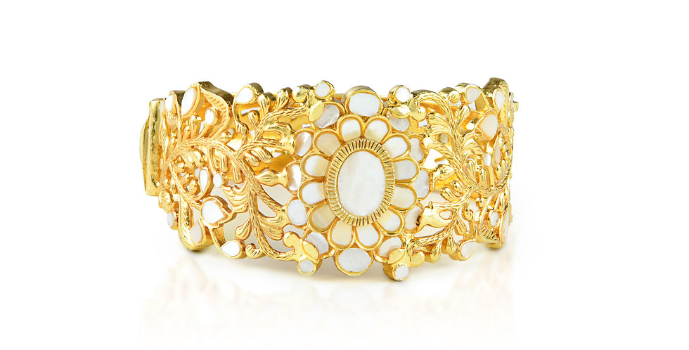 Sterling Silver Cuff with Mother-of-Pearl & Gold Plating