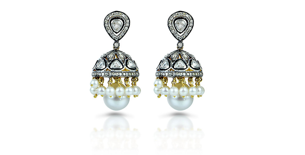 Art Deco Diamond and Pearl Chandelier Jhumkis in 18K Gold & Silver