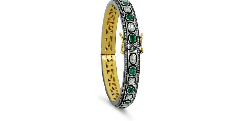 Art Deco Emerald Diamond Polki Bracelet