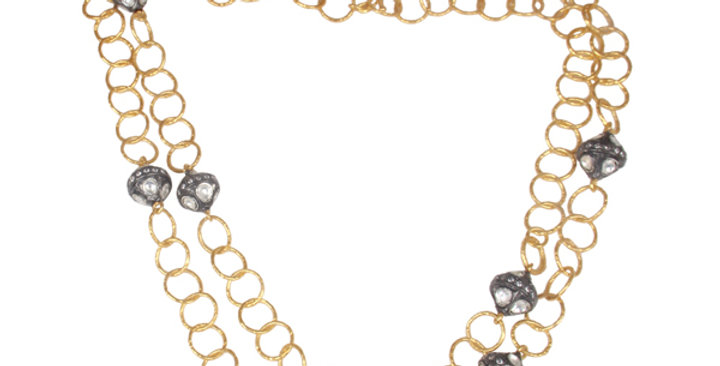 Stering Silver Necklace Strings with Gold Plating & Cubic Zirconia
