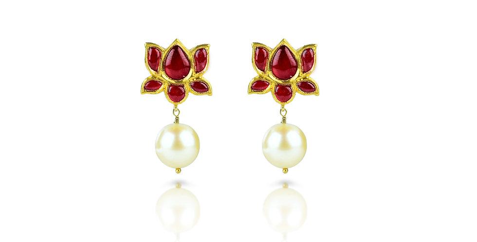 South Sea Pearl & Ruby Jadau Earrings in 24K & 18K Gold