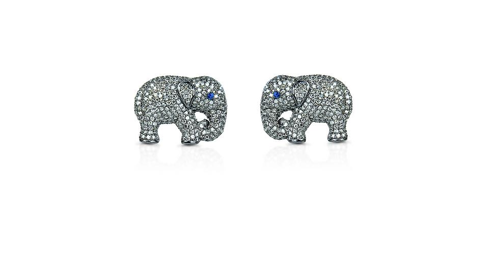 Diamond & Blue Sapphire Elephant Men's Cufflinks