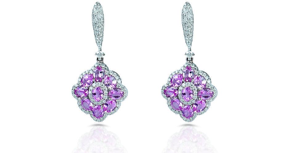 Art Deco Pink Sapphire Diamond Earrings in 18K Gold & Sterling Silver