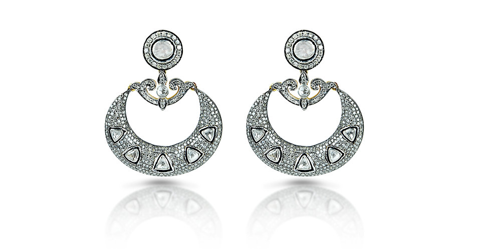 Diamond Polki Chand Balis in 18K Gold & Sterling Silver