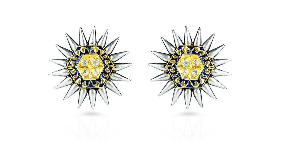 Sterling Silver Starburst Earrings with Gemstones & Gold Plating