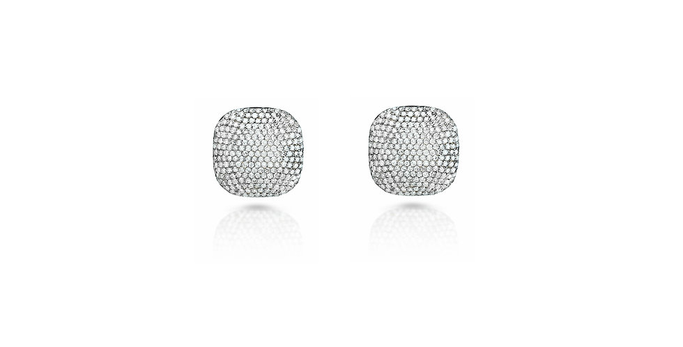Art Deco Diamond Square Stud Earrings in Gold & Sterling Silver (Small)