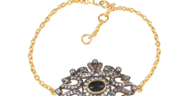 Sterling Silver Necklace with Onyx Cabuchon, Zirconia, & Gold Plating