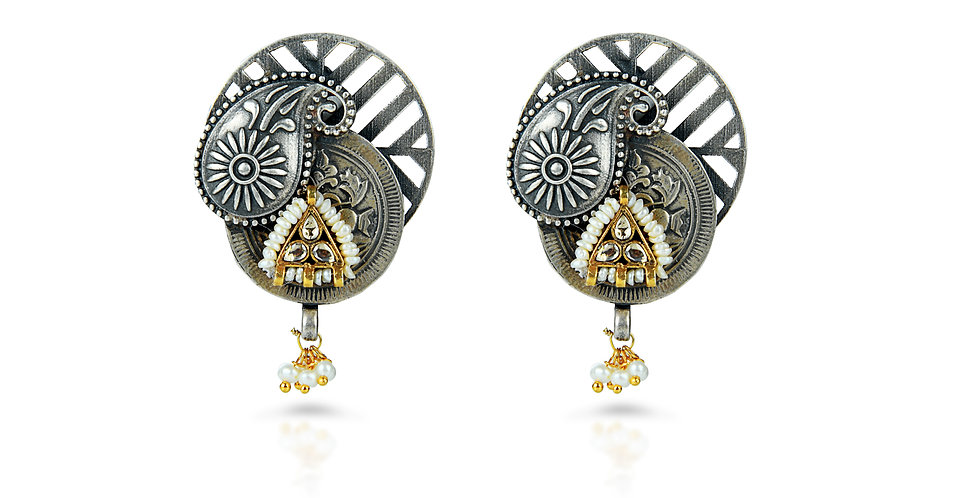 Sterling Silver Paisley Earrings with Gold Plating