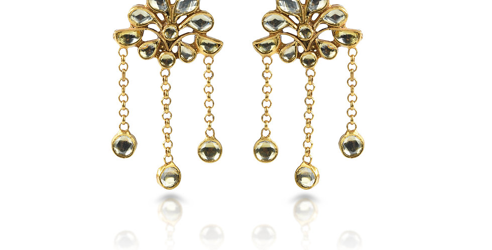 Sterling Silver Dangling Earrings with Gold Plating