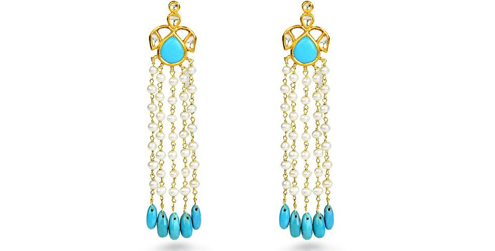 Diamond (Polki), Turquoise, Pearl Chandelier Earrings in 18K Gold