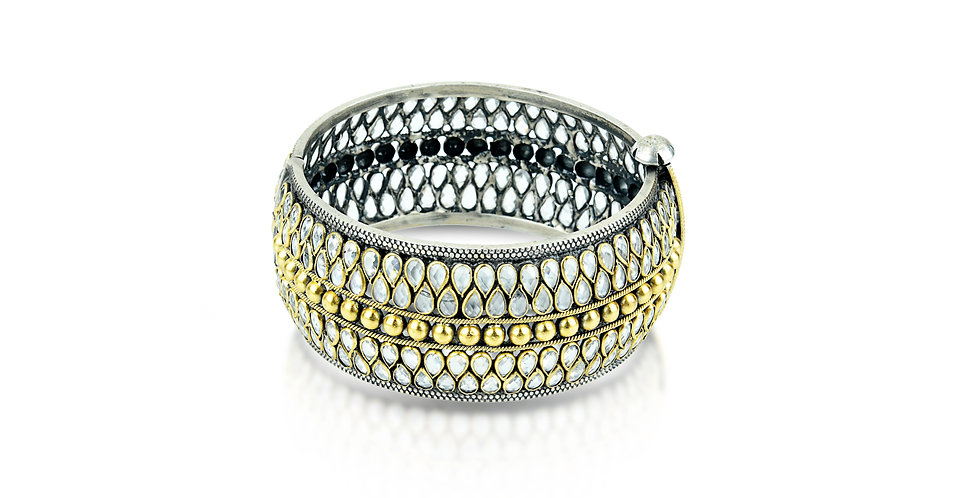 Sterling Silver Cuff Bracelet with Pure Crystal & Gold Plating