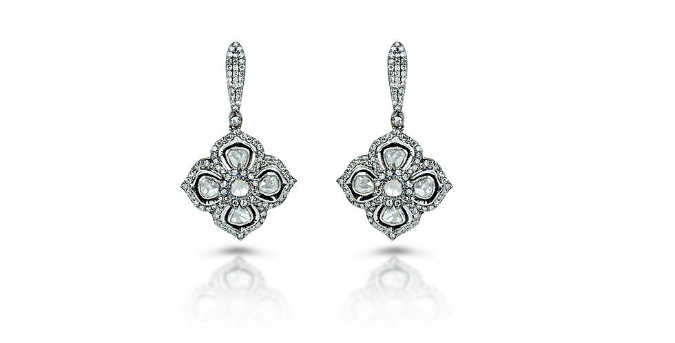 Art Deco Diamond Polki Clover Leaf Earrings in 18K Gold & Sterling Silver