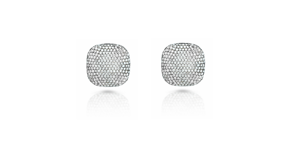Art Deco Diamond Square Stud Earrings in Gold & Sterling Silver (Large)