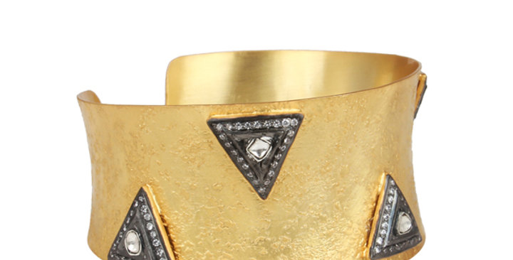 Sterling Silver Cuff Bracelet with Quartz, Cubic Zirconia, & Gold Plating