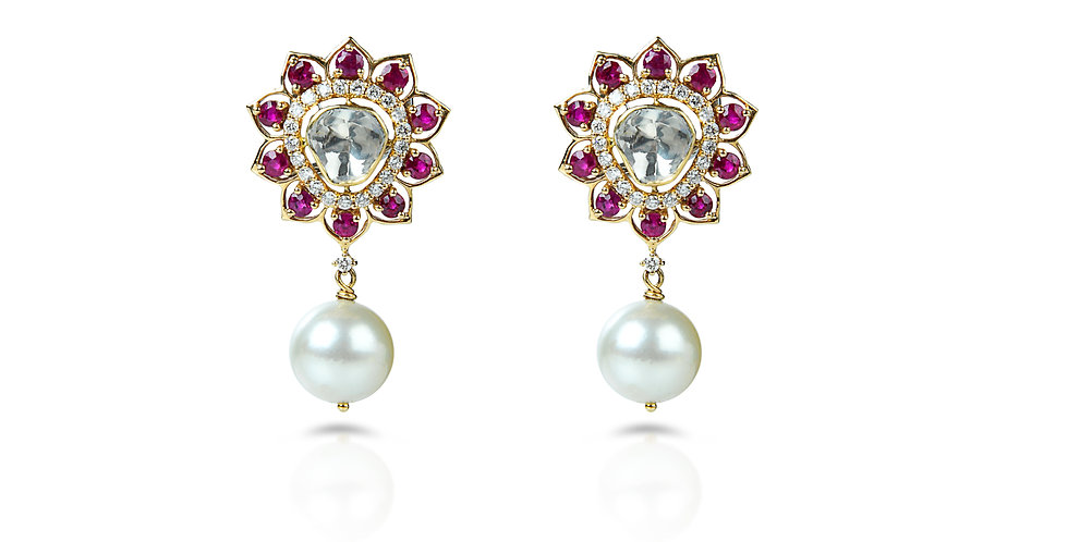 Ruby Diamond South Sea Pearl Earrings