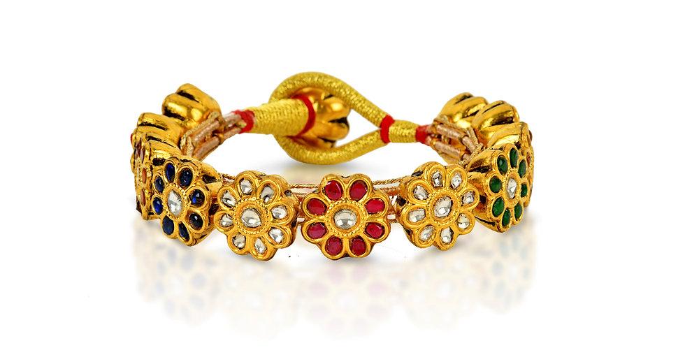 Navratan (Nine Gemstone) Paunchi Cuff in 22K Gold