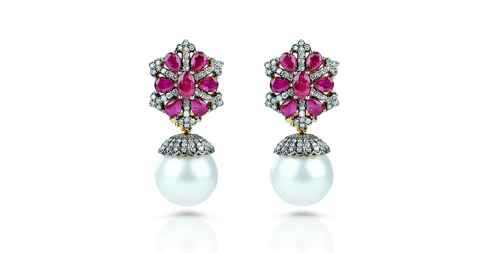 Ruby, Diamond,  & South Sea Pearl Earrings in 18K Gold & Sterling Silver