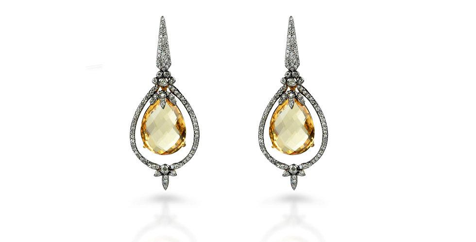 Art Deco Citrine & Diamond Earrings in 18K Gold & Sterling Silver