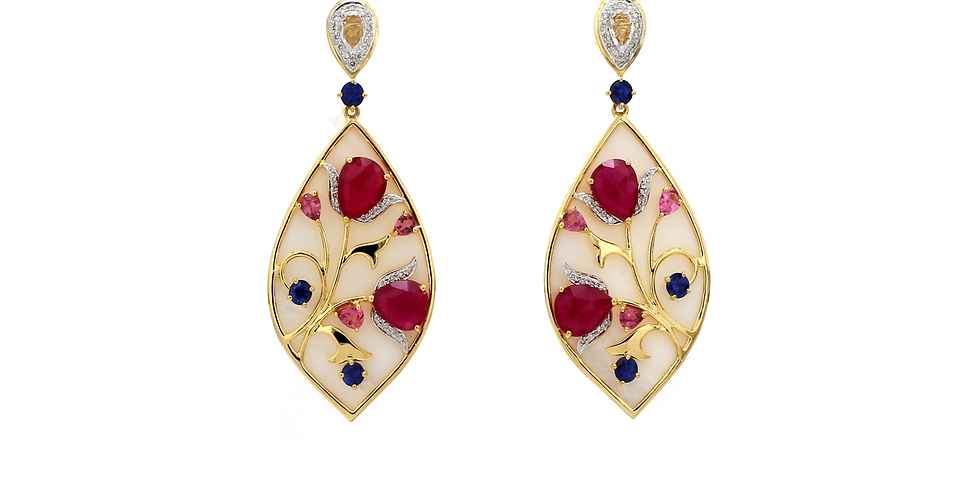 Ruby Chatham, Sapphires, Diamonds Drop Earrings in 18K Gold & Mother of Pearl