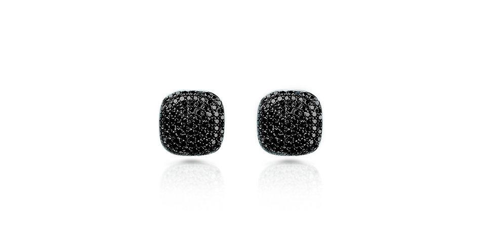 Art Deco Black Diamond Square Stud Earrings in Gold & Sterling Silver