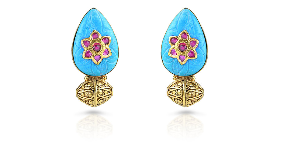 Sterling Silver Turquoise Earrings with Cabuchon Rubies & Gold Plating