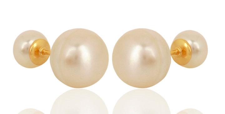 Double Sided Pearl Stud Earrings in Sterling Silver