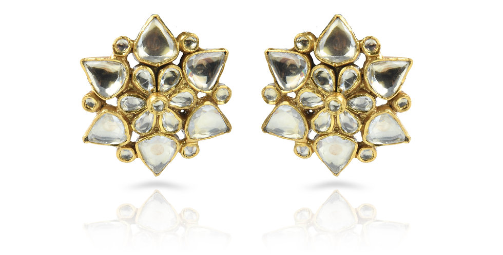 Sterling Silver Lotus Stud Earrings with Gold Plating