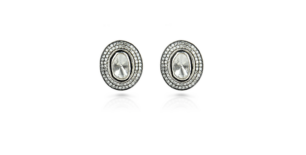 Diamond Polki Oval Earrings