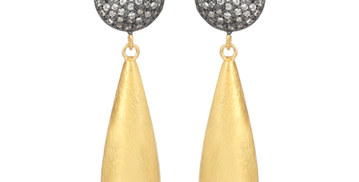 Sterling Silver Dangling Earrings with Zirconia & Gold Plating